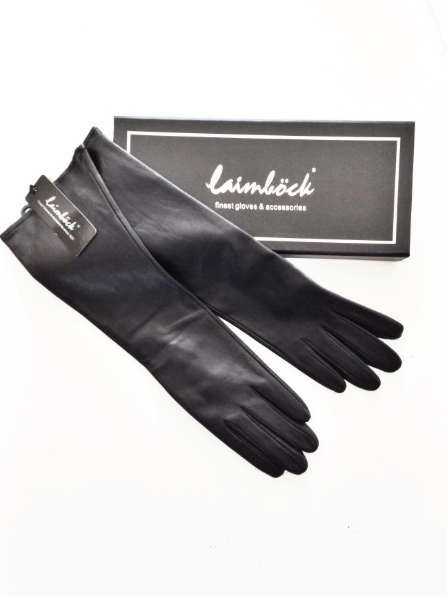 laimbock handschoenen, lange handschoenen, glamour abonnement, zwarte leren handschoenen