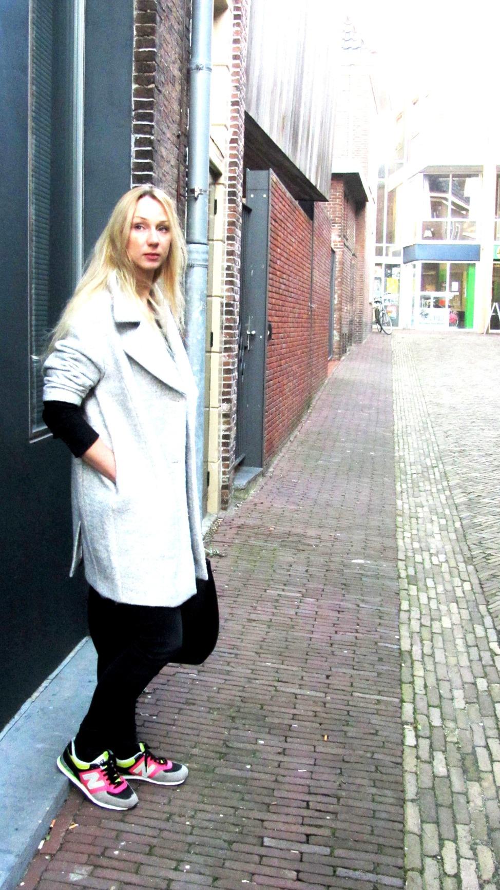 oversized grey coat, grijze jas, h&m grijze jas,