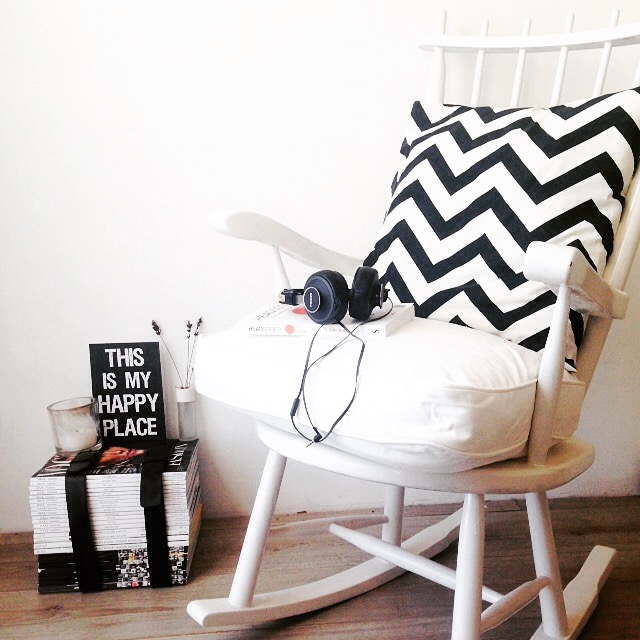 rocking chair, interior, dutch, black and white, this is my happy place